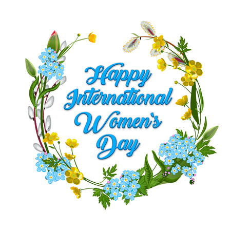 8 March, Happy International Women s Day. Happy women s day greeting card. Postcard on March 8. Text with flowers