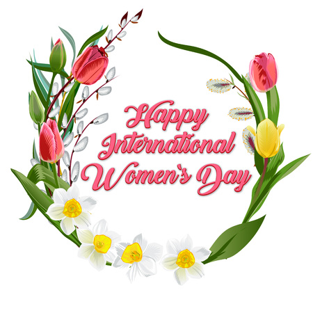 Happy women s day greeting card. Postcard on March 8. Text with flowers. 8 March, Happy International Women s Day.