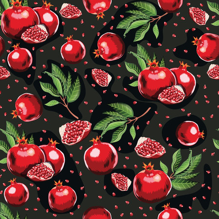 Abstract bright colorful pomegranate seamless pattern. Hand drawn brush grunge garnet fruit background. textile pattern Ilustração