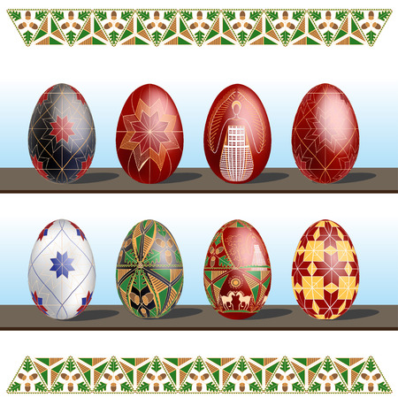 Pysanky - traditional eastern Europe decorated with wax Easter Eggs. Vector illustration. Stylized under the Ukrainian painting Pysanky regular ornament. Gold on black adds to it a solemnity, which makes it suitable for home decor.