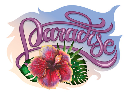 Summer tropical design for banner or flyer with exotic palm leaves, hibiscus flowers and handlettering.
