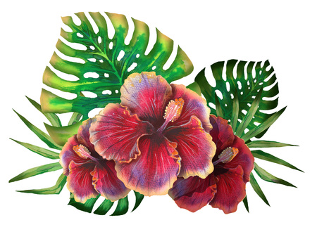 Watercolor summer tropical design for banner or flyer with exotic palm leaves, hibiscus flowers Banco de Imagens