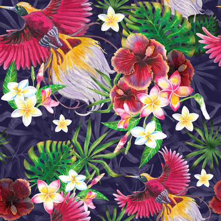 Exotic summer print with flamingo and tropical leaves. Isolated  illustration on white background. Watercolor style