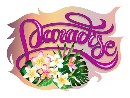 Summer tropical design for banner or flyer with exotic palm leaves, plumeria flowers and handlettering. Banco de Imagens