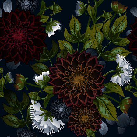 Modern trendy seamless floral pattern of burgundy dahlias and white peonies. This delicate unique flower pattern will make chiffon dresses completely unmatched, and will also look great on women s blouses.