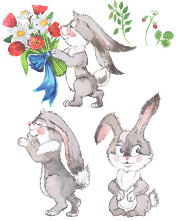 Watercolor cute cartoon rabbits bunny, in the flower garden character warm and satisfied, happy pattern by hand draw doodle comic style