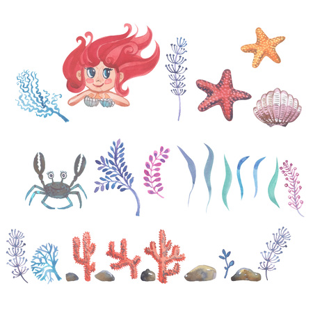 Watercolor little mermaid with pink hair and green fish tail lies on the sand on the seabed. Banco de Imagens