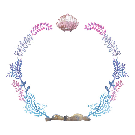Watercolor round frame of sea shells,  illustration. Stock Photo