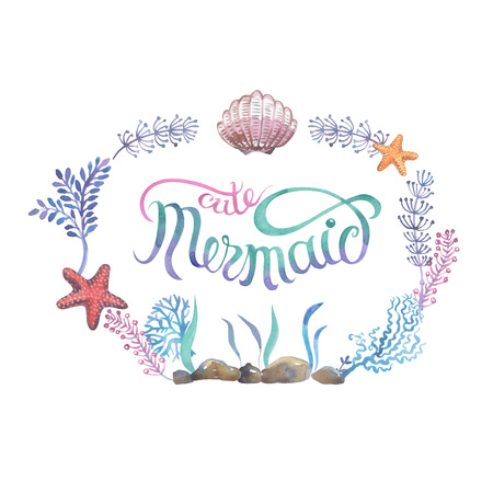 Square frame with calligraphy lettering of sea shellfish painted in watercolor isolated on white background. Hand painted seashells for beautiful invitation design, greeting cards, posters and bags. Banco de Imagens