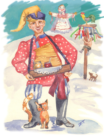 Traditional Russian Shrovetide. Hand painted watercolor image: buffoon, stuffed animal of winter, Russian woman, pancakes, honey, cat, dog, jam