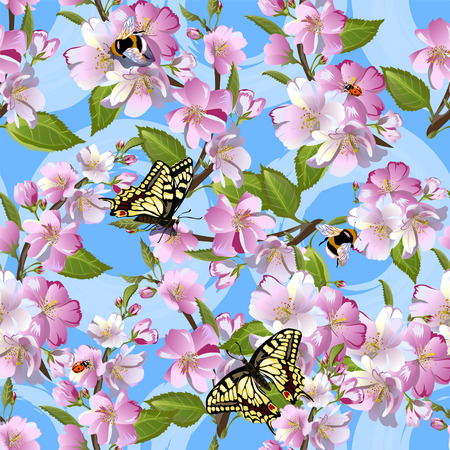 Spring seamless pattern with flowers of apple, Machaon butterflies, bumblebees and ladybirds against a blue sky. Illustration