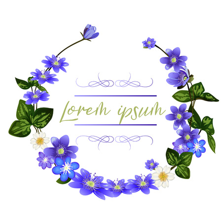 The wreath of scilla flowers on white background. Spring flowers greeting card template.