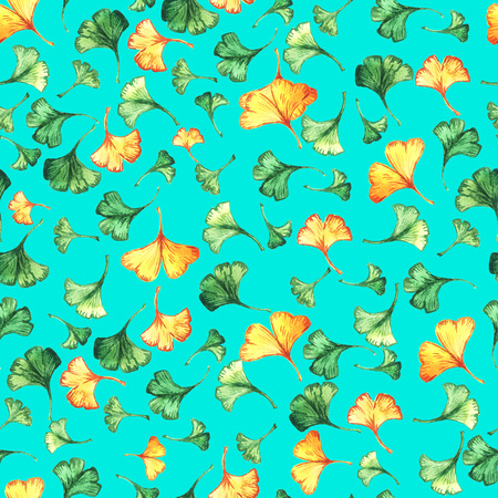 Ginkgo biloba leaves floral watercolor seamless pattern on turquoise backround. Tree plant known as ginko or gingko. Banco de Imagens