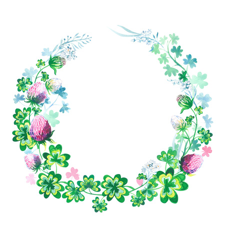 Hand drawn botanical watercolor round frame with clover flowers, stems and leaves isolated image