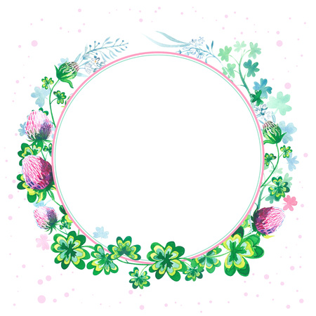 Hand drawn botanical watercolor round frame with clover flowers, stems and leaves isolated on white background.