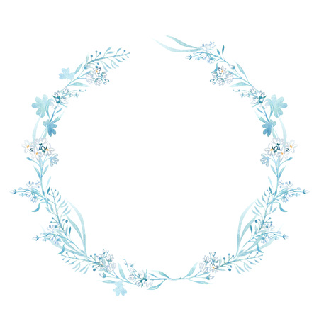 Hand drawn watercolor illustrations. Laurel Wreaths. Floral design elements. Perfect for wedding invitations, greeting cards, blogs, logos, prints