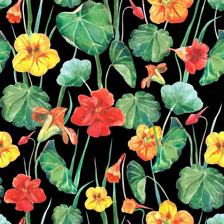 Seamless watercolor fabric background of nasturtium flowers and leaves. Old style black background. Banco de Imagens
