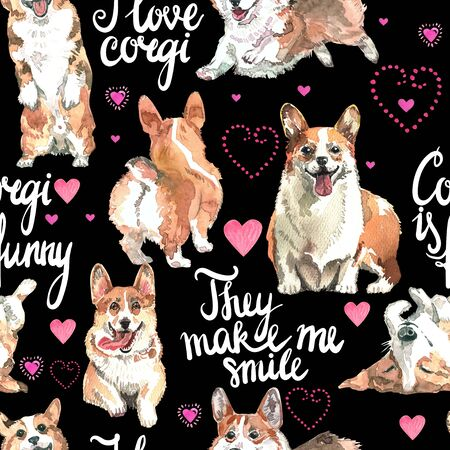 Welsh Corgi Pembroke, watercolor, dog, animal, pattern, backgrounds 版權商用圖片