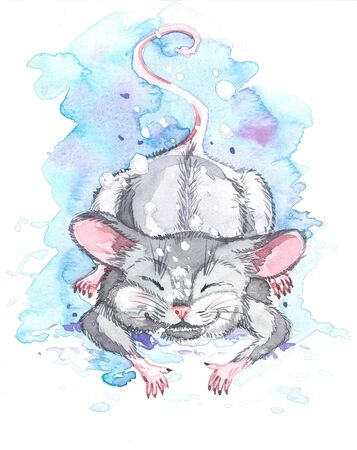 Watercolor illustration for calendar 2020, cards and posters. Month of January. Snow falls on the mouse.