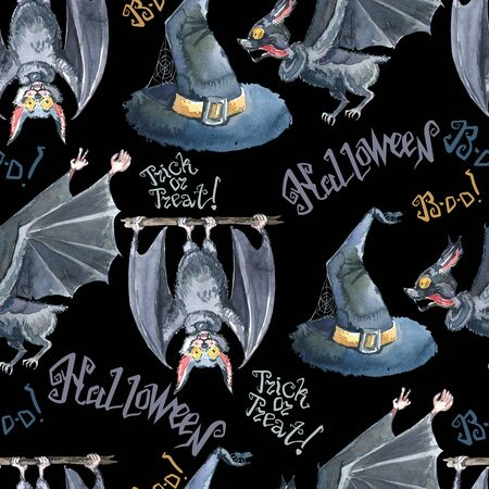 Halloween seamless pattern with halloween bat, lettering and witch hat . Cute naive watercolor 版權商用圖片