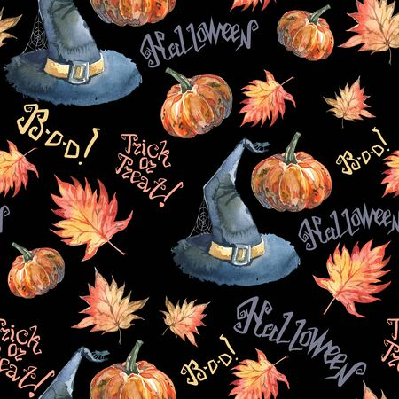Halloween seamless pattern with halloween pumpkin, autumn maple leaves, lettering and witch hat. Cute naive watercolor