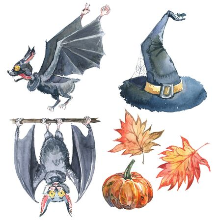 Halloween watercolor set: maple leaf, bat, pumpkin, witch hat and halloween lettering. Isolated on white. 版權商用圖片