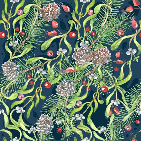 watercolor Christmas pattern, hellebore flowers, mistletoe, red berries, blue background 版權商用圖片
