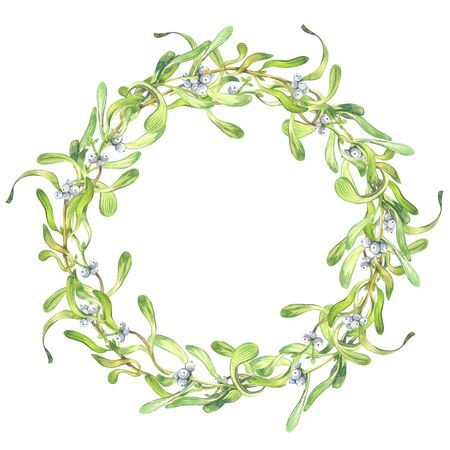 Christmas wreath frame of a mistletoe painted in watercolor on a white background with inscription Merry kisses and warmest wishes 版權商用圖片