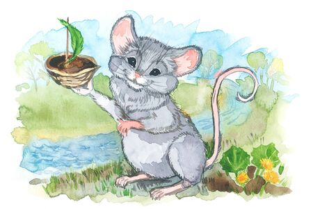 Watercolor illustration for calendar 2020, cards and posters. Month of April. The mouse launches a boat in the creek. 版權商用圖片