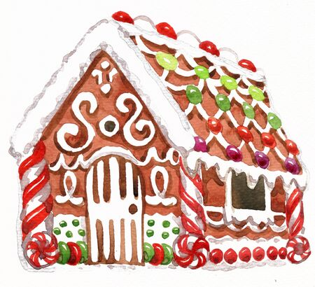 Watercolor illustration of gingerbread house with glaze, sweets and garlands. Christmas holiday mood. 版權商用圖片