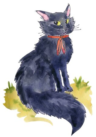Black cat sits in profile. Watercolor illustration.