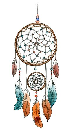 dream catcher, watercolor,feathers, decoration. Illustration boho style 版權商用圖片