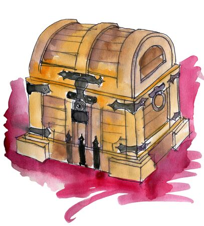 watercolor sketch of wooden chest on white background 版權商用圖片