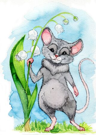 A small blue rat with big ears of a dumbo is holding on to a lily of the valley flower on a blue background. Symbol of chinese new year.