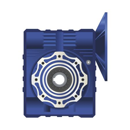 worm gearbox with flange. Vector illustration on white background. Isolated image. 3D 向量圖像