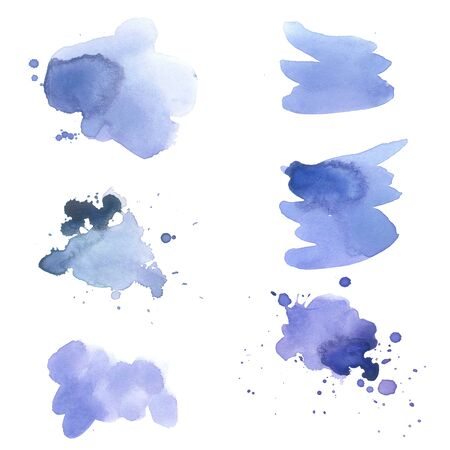 The set of abstract ultramarine watercolor hand painted background