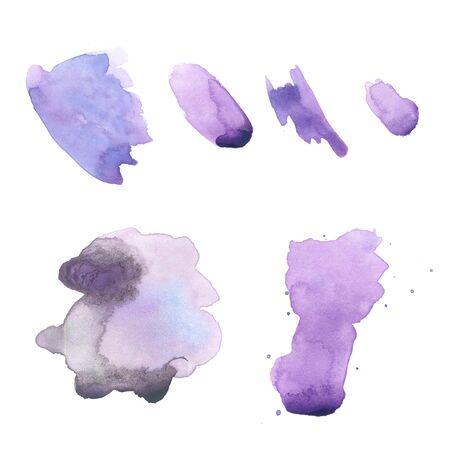 The set of abstract violet watercolor hand painted background