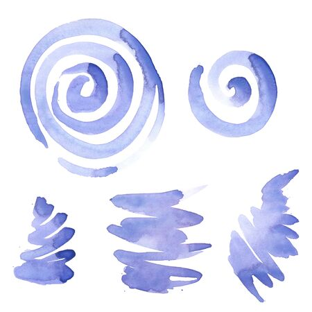 The set of abstract watercolor hand painted on white background 版權商用圖片