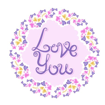 Romantic vintage hearts frame for Valentine s day or wedding. Vector illustration for your design