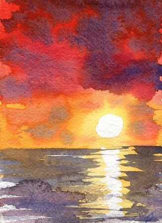 Watercolor red sunset dawn sun rays gentle color juicy texture illustration landscape reflection shining clouds sky. Overcast clouds