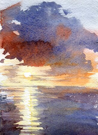 Watercolor blue sunset dawn sun rays gentle color juicy texture illustration landscape reflection shining clouds sky. Overcast clouds