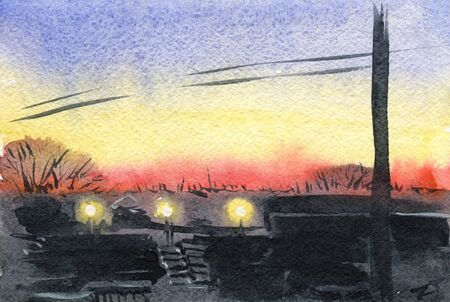 The sunset in the city. Watercolor painting 版權商用圖片