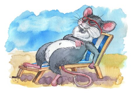 The mouse lies on a beach lounger on the sand resting isolated on a white background. Watercolor illustration 版權商用圖片