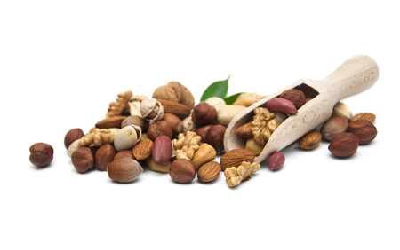 Group of nuts isolated on white background photo