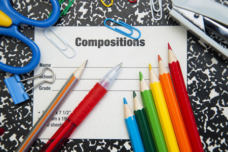 composition notebook: Closeup of a composition notebook for back to school Stock Photo