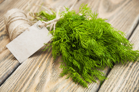 Green bunch dill on a wooden background