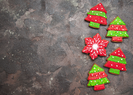 Christmas ginger cookies on a stone background