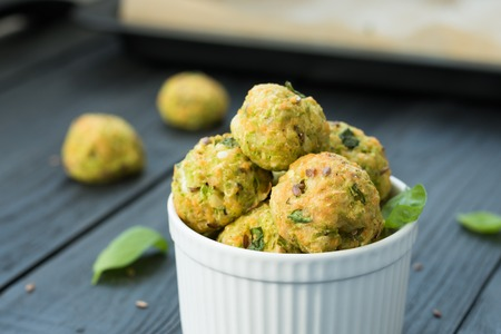Cooking concept - healthy vegetable bites, flat lay