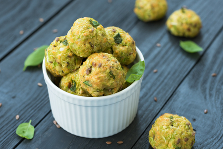Healthy lifestyle and cooking concept - Baked zucchini bites