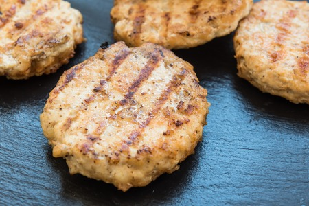 traditionally american: Homemade juicy delicious patties for burgers